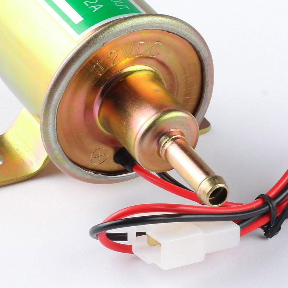 Bomba de Combustible Eléctrica 12v de baja Presión Perno de Fijación de Alambre en línea para Gasolina y Diesel HEP-02A Universal (dorado)
