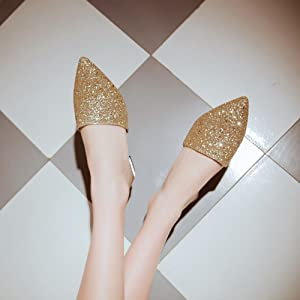 2173af5cee4 Amazon.com | Meotina Women Shoes Glitter Pointed Toe Mules Shoes ...