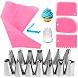 Click to Open expanded View Silicone Piping Bags and Nozzle,Silicone Icing Piping Cream Pastry Bag and Piping Nozzle Set for