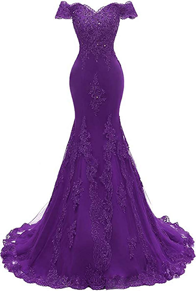 Purple ROMOO Women Off the Shoulder Tulle Mermaid Prom Dresses Long Lace Beaded Evening Wedding Dress 2019