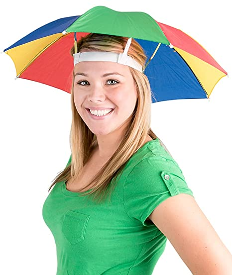 9f67684e721e6 Amazon.com  Funny Umbrella Golf Fishing Costume Party Sun Shade Hat  Red Blue Yellow  Clothing