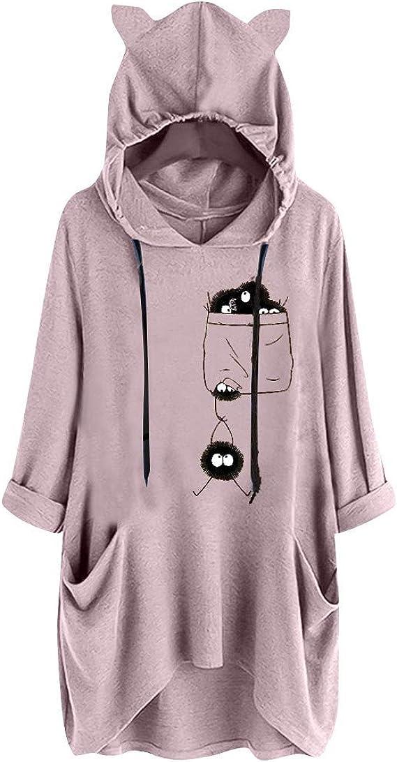 Sudadera con Capucha en Color Liso para Mujer Camisa de Bolsillo con Estampado de Orejas de Gato de Manga Larga con Capucha Informal para Mujer Blusa Superior Irregular Ajustable LiNaoNa: Amazon.es: Ropa