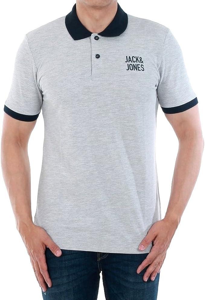 JACK & JONES Polo Hombre Gris Claro 12134767 JCOASAP Polo SS Light ...