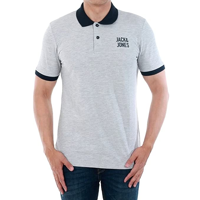 JACK & JONES Polo Hombre Gris Claro 12134767 JCOASAP Polo SS Light ...