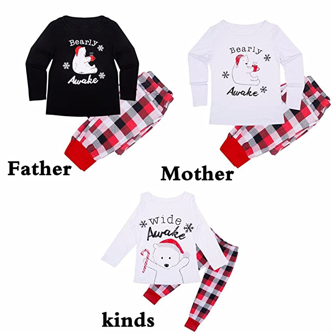 fa9ecb7af286 Mambain Pigiama Famiglia Set Natale Due Pezzi Pantaloni + Maglietta A  Quadri Bambino Donna Uomo Neonata