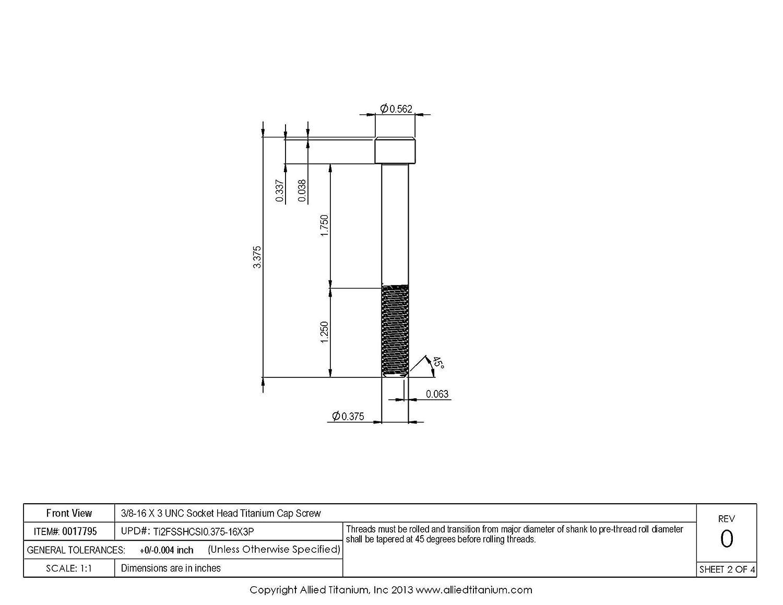 Pack of 3 CP Grade 2 Allied Titanium 0017795, 611106004 3//8-16 X 3 UNC Socket Head Cap Screw Inc