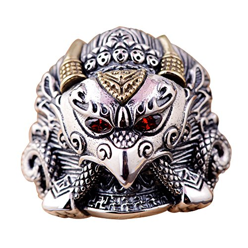 (For Fox Mens Punk 925 Sterling Silver Eagle Head Open Ring Adjustable Size 8-10.5)