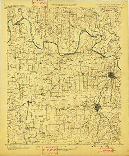 YellowMaps Denison TX topo map, 1:125000 Scale, 30 X 30 Minute, Historical, 1901, 19.9 x 16.5 in - Paper ()