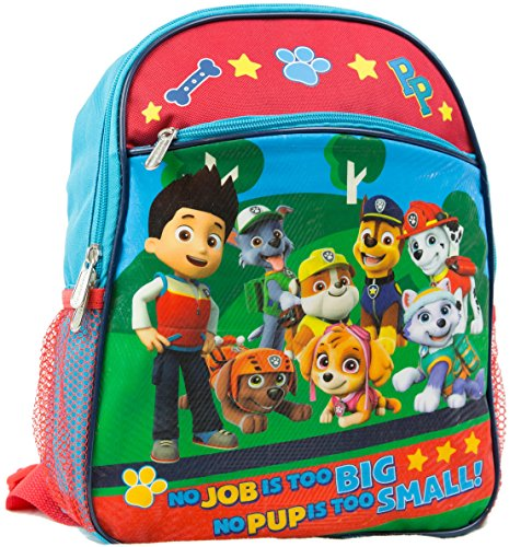 "Nickelodeon Paw Patrol 12"" Toddler Backpack With 8 Paw Patrol Characters Pictured On Front"