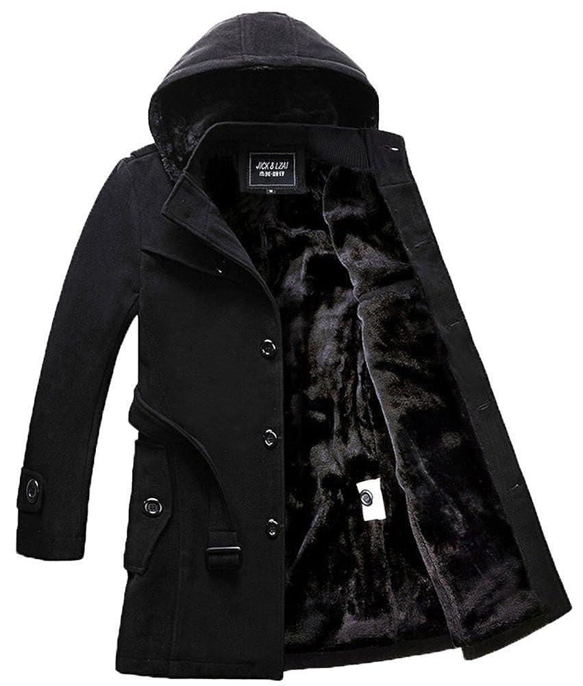 Liveinu Men's Winter Wool Blend Pea Coat Hood Jacket LVU-MY-0001