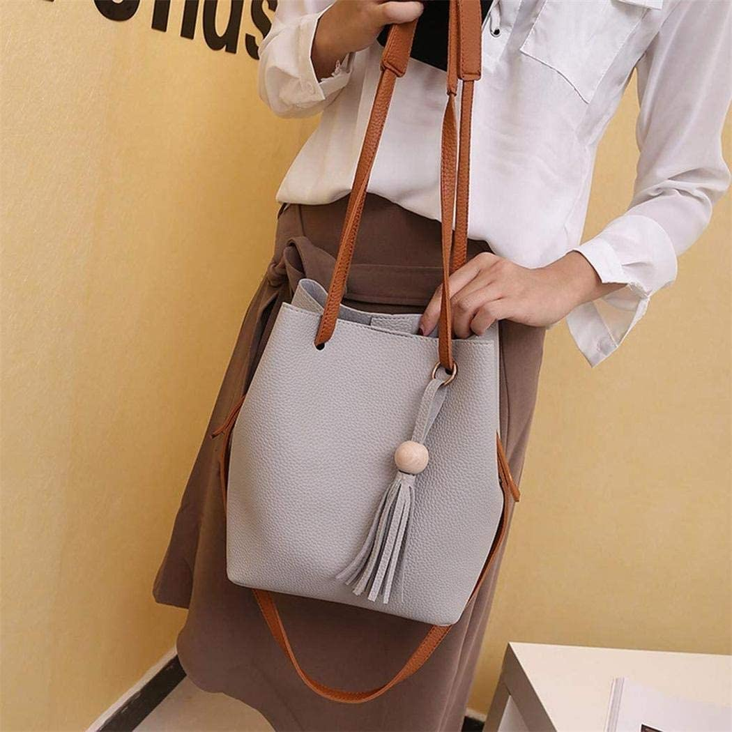 Trenlp 22x16x25cm Women Fashion PU Leather Tassel Shoulder Bag Mobile Phone Clutch Set Shoulder Bags