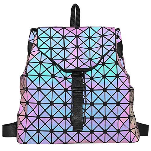 Newshows Women Luminous Backpack Purse Geometric Shoulder Handbags Casual Daypack