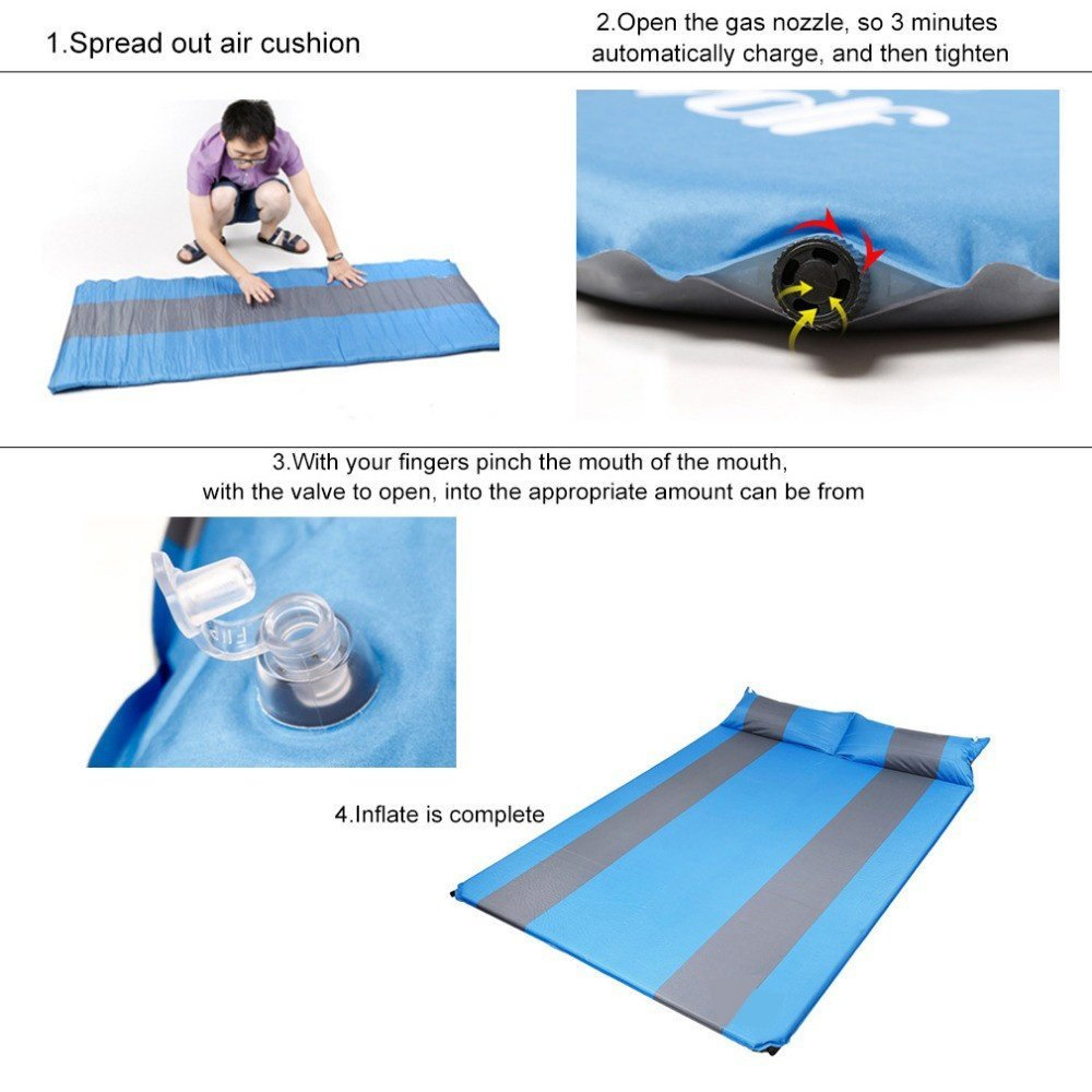Showher Two Person 75.5'' Comfort Self Inflating Camp Pad with Pillow - Perfect Sleeping Pads for Camping, Backpacking, Hiking, Hammocks, Tents by Shwoher (Image #4)
