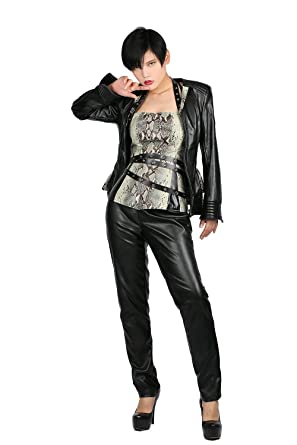 Nexthops Chaqueta de Cuero para Mujeres Invierno Pantalones PU ...