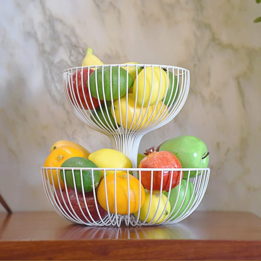 Soggiorno in Ferro battuto Artigianale Doppio portafrutta da Dessert Dessert con vaschetta Multi-Strato di Caramelle Europee Fruit basket Cesto di Frutta