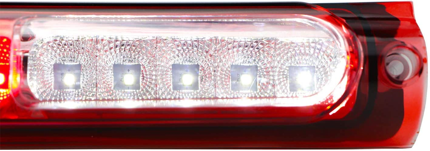 Chrome Housing Red Lens Replacement for 1997-2003 Ford F-150 Rear Roof Center LED Third 3rd Brake Cargo Light Assembly High Mount Brake Tail Light