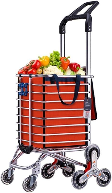 QX IAIZI Escalera De Gran Capacidad Escalera Carro De La Compra Bolsa Ligero Equipaje Carrito De Comestibles Plegado 8 Ruedas Carro Multifuncional De Uso General, Naranja: Amazon.es: Hogar