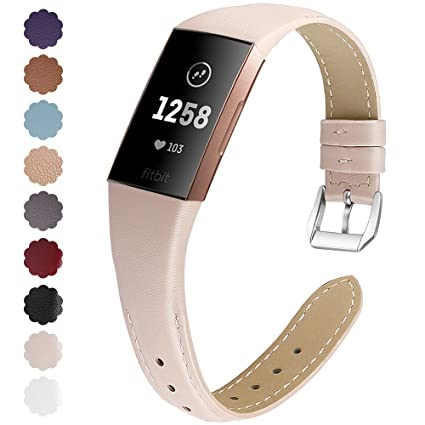 NANW Bands Compatible with Fitbit Charge 3, Slim Genuine Leather Wristband  Replacement Accessories Strap for Women Men Compatible with Fitbit Charge 3