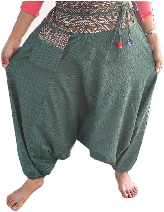 Pantalones de algodón pantalones harén diseño a rayas Hippy Hippie Boho Genie Ali Baba Aladdin: Amazon.es: Jardín