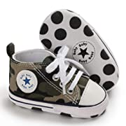 Unisex Baby Boys Girls Canvas Sneakers Soft Soled High-Top Ankle Infant Crib Shoes Toddler First Walkers (0-6 Months, Camo Green)