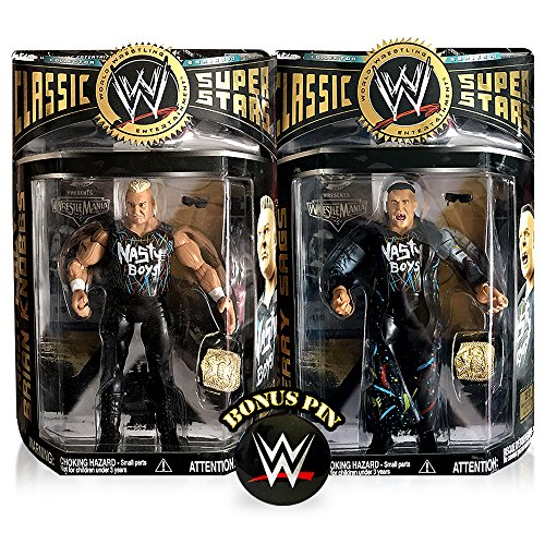 WWE WWF Classic Superstars Nasty Boys Brian Knobbs and Jerry Sags Wrestling Tag Team Action Figures with Belts and Exclusive Pin (Rare T-shirt Rock)