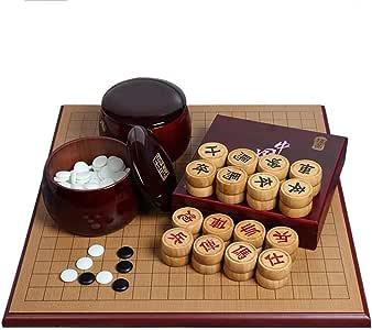 Va el Juego y ajedrez Chino Conjunto de Dos Caras Tablero de Go Conjunto Chino Weiqi for Dos Jugadores Junta de Estrategia de Juego de 19 x 19 Go Sistema Incluye Cuencos: