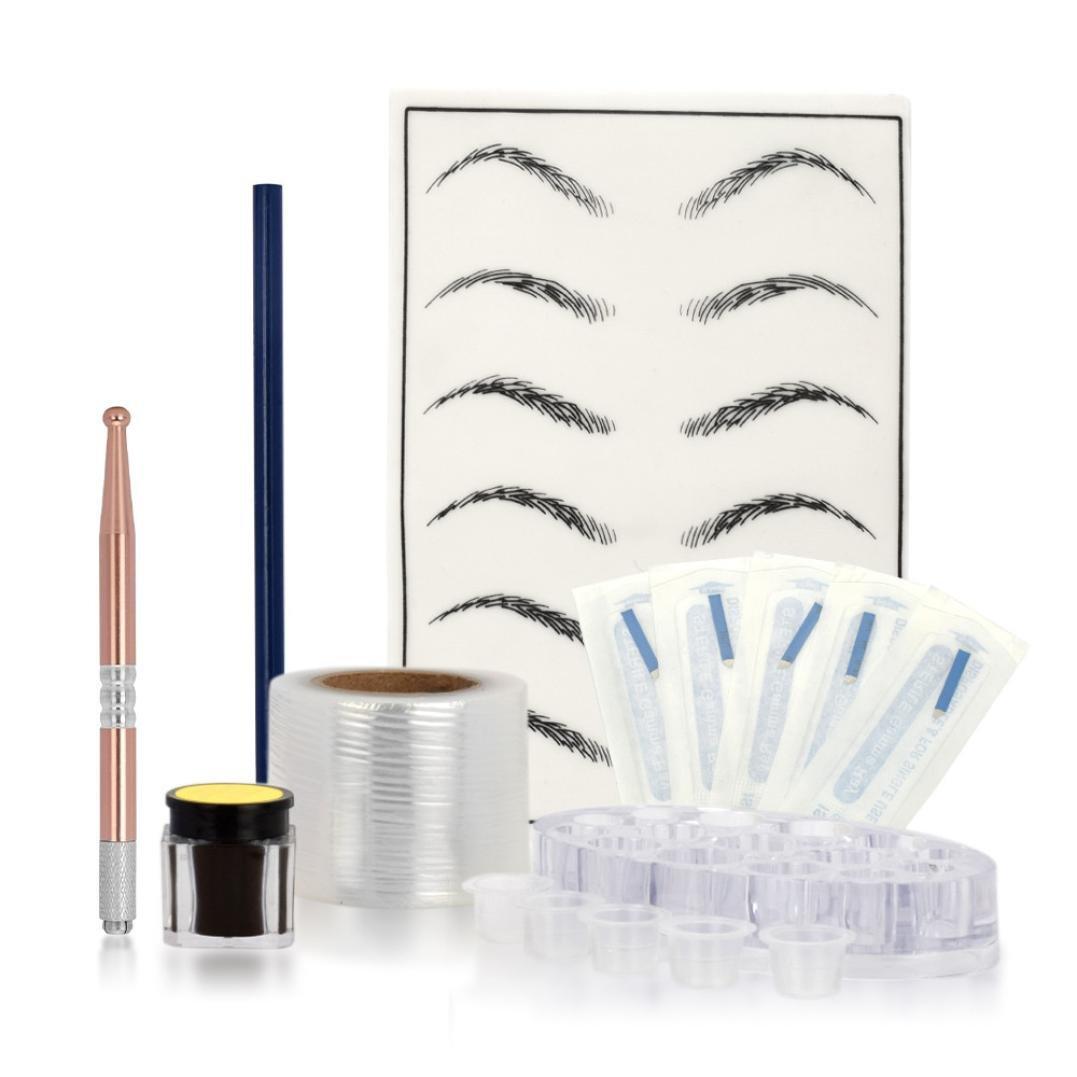 Ikevan Sterile Tattoo Kit,Microblading Practice Skin HandMade Pen Makeup Eyebrow Tattoo Needle Pigment Kit (Pink)