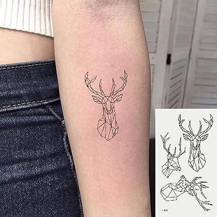 Oottati 2 Hojas Pequeño Lindo Tatuaje Temporal Tattoo Venado De ...