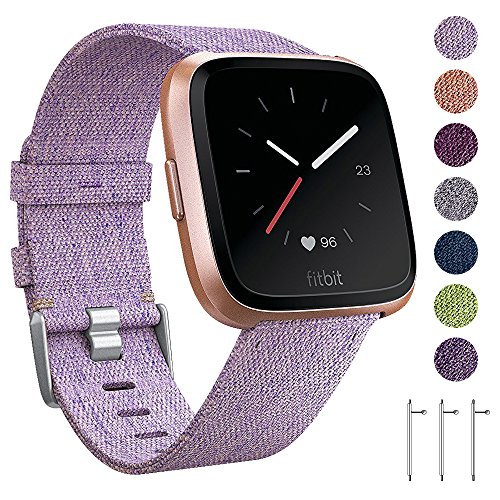 EZCO Compatible Fitbit Versa Bands, Woven Fabric Breathable Watch Strap Quick Release Replacement Wristband Accessories Compatible Fitbit Versa Smart Watch Women Man