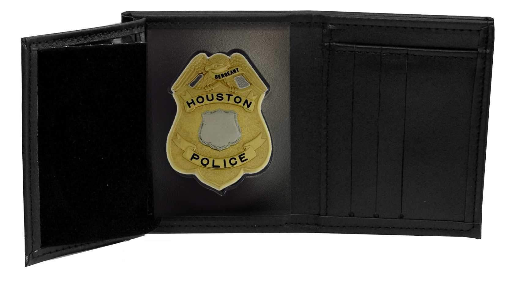Houston Police Supervisor Recessed Badge Wallet (Cutout DK351, 3.16 inches tall)