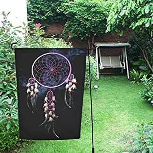 InterestPrint Happy More Custom - Atrapasueños de color rosa con doble bandera de jardín de 71 x 101 cm