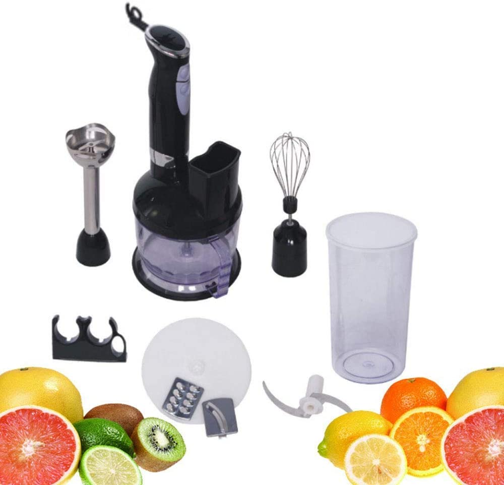 LQUIDE Hand Mixer,Electric Immersion Hand Blender Stick Set 2-Speed Smart Blender with Beaker Vegetable Slicer 6-in-1 Food Prep Kit Ergonomically Handle Designed BPA-Free 450W