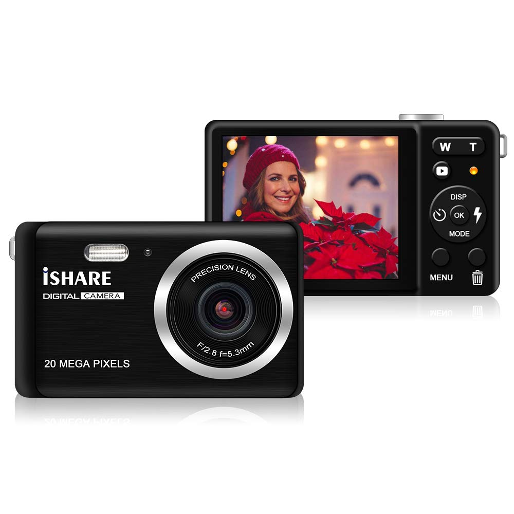 Mini Digital Camera for Photography with 2.8 Inch LCD 8X Digital Zoom, 20MP HD Digital Camera Rechargeable Point and Shoot Camera, Indoor Outdoor for Kids/Seniors/Learner(Black) by ISHARE
