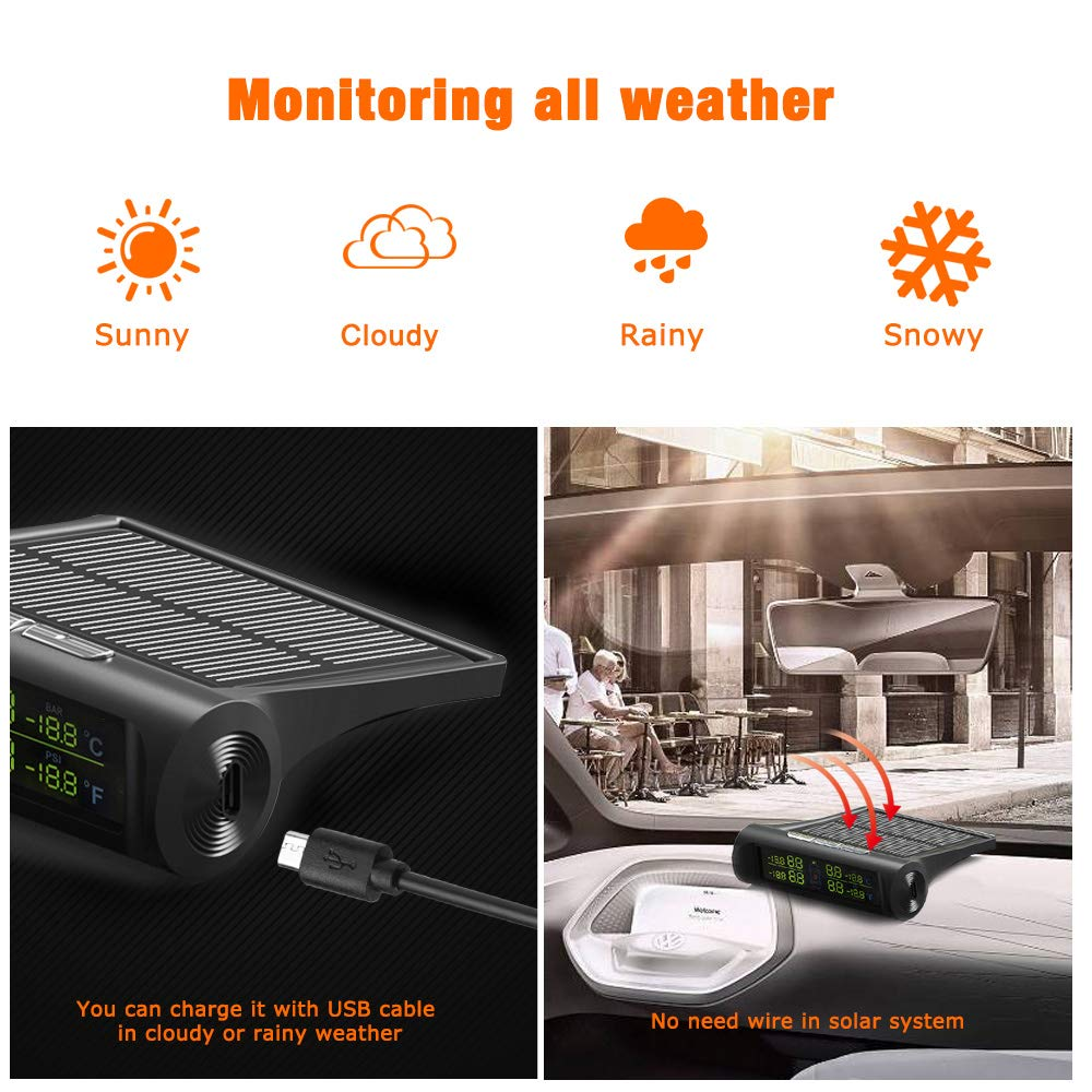 bedee TPMS Tyre Pressure Monitoring System, Tire Pressure Checker Solar and USB Rechargeable, Auto Alarm and Real Time Detection, LCD Screen Display with 4 Waterproof External Sensors for Car