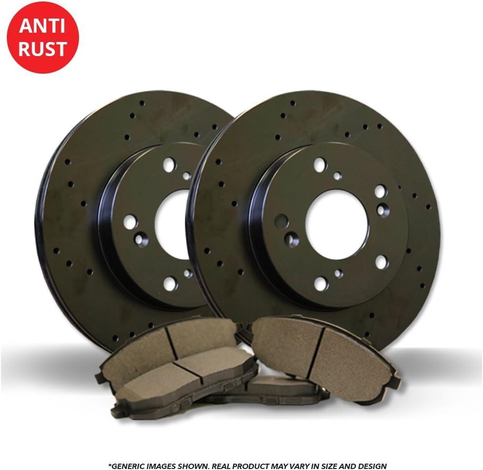 Fits:- Dakota 2 Black Coated Cross-Drilled Disc Brake Rotors Front Kit 6lug 4 Semi-Metallic Pads High-End