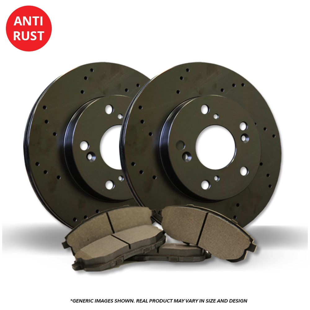 (Front Kit)(High-End) 2 Black Coated Cross-Drilled Disc Brake Rotors + 4 Semi-Metallic Pads(5lug) frautoparts