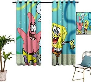 Emily Simon Window Curtains W42 x L54 Spongebob Yellow Cute TV Curtains for boy Room Kids Decor Patterned Curtains