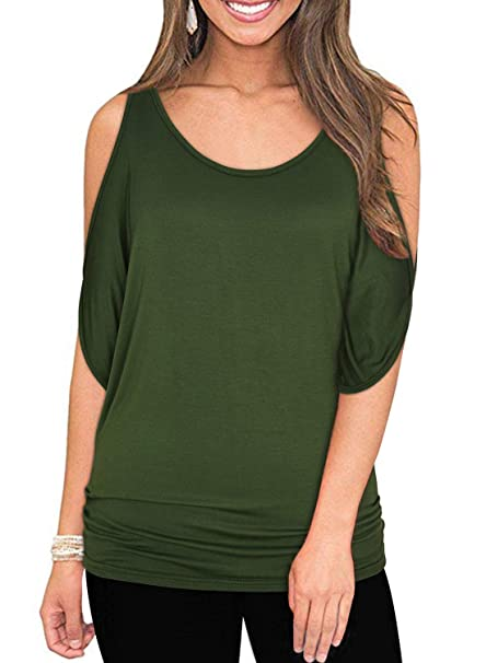 e33cf8ed0c7 Army Green Summer T Shirt Women Short Sleeve Cold Shoulder Loose Fit  Pullover Casual Top