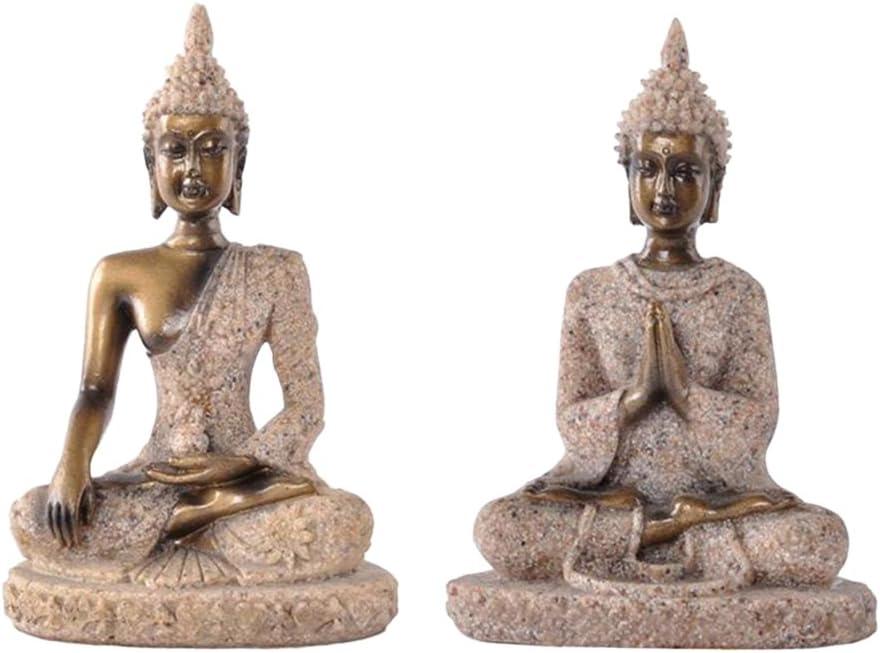 LoveinDIY 2pc The Hue Sandstone Seated Meditation Buddha Statue Figurine Table Decor