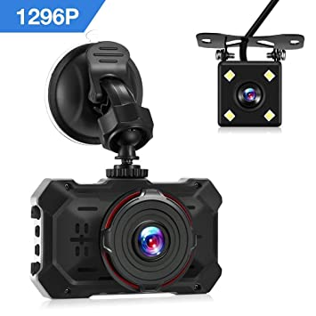 Cámara de Coche Full HD 1296P,Dashcam 170°+140°Gran Angular,