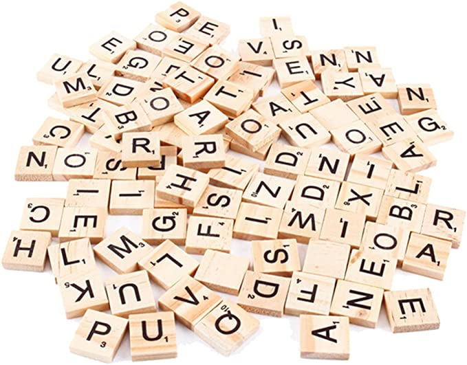 Letras de madera de Scrabble pequeñas SNNplapla, fichas para juegos de tablero, para manualidades, en letra mayúscula, 100 unidades: Amazon.es: Hogar