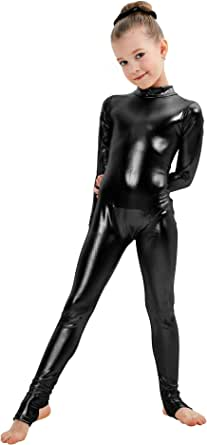 Womens Long Sleeve Metallic Unitard Turtleneck Bodysuits Costumes Adult Catsuit