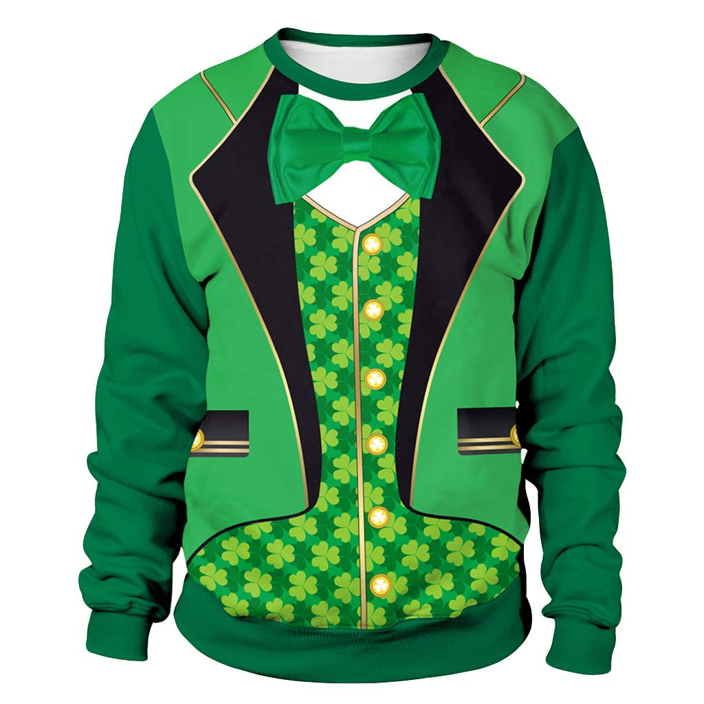 Save 25/% St Patricks Day Mens Suit Evening Dress Print Long Sleeve Tops BBesty