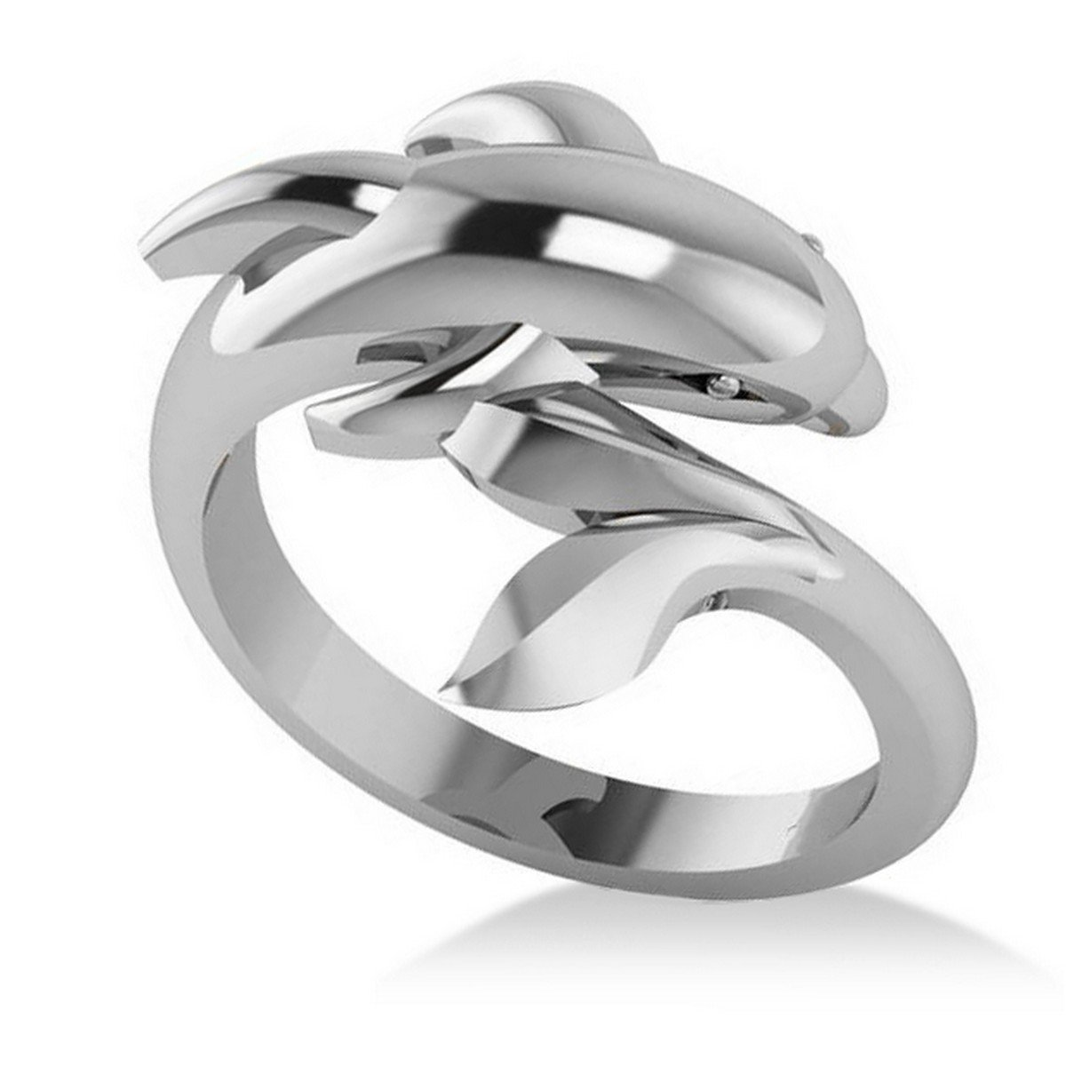 Allurez Summertime Dolphin Fashion Ring 14k White Gold