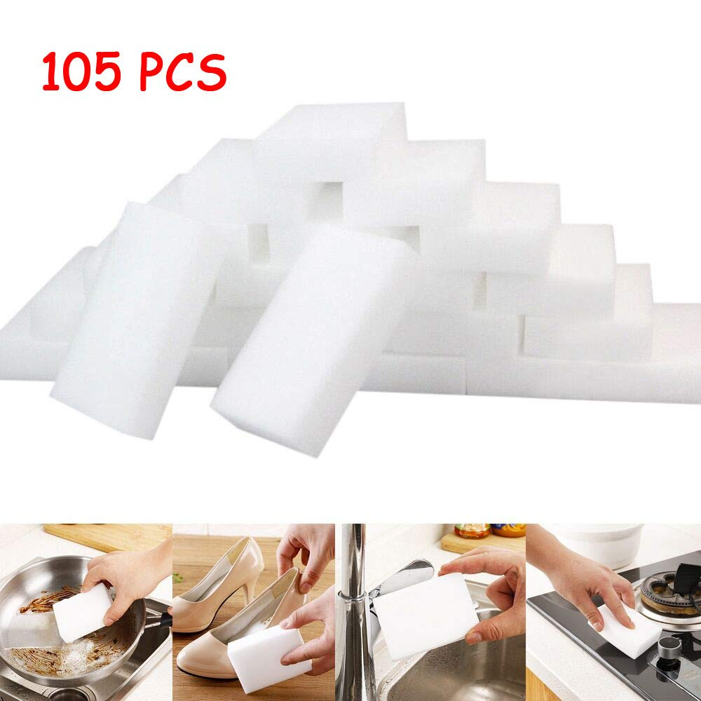 Wenini Magic Sponge Eraser, Useful and Soft White Magic Sponge Eraser Cleaning, Melamine Foam Cleaner Kitchen Pad for Kitchen, Household (40 PCs)