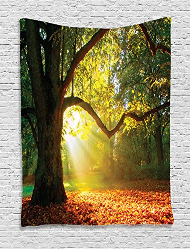 Light Green Yellow Orange - Ambesonne Leaves Decor Tapestry, Majestic Mighty Oak Tree Largely Broader Leaves Forest Sun Beams Rays Nature, Bedroom Living Room Dorm Decor, 40 W x 60 L Inches, Green Light Yellow Orange
