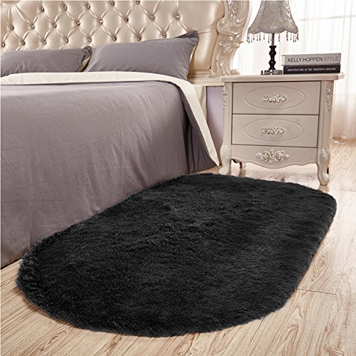 Junovo Ultra Soft Modern Fluffy Area Rug for Living Room Bedroom Kids Room Nursery,2.6' X (Black Oval Rug)
