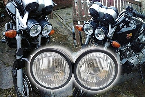otorcycle Headlight Dual Streetfighter Cafe Racer w/Mount (Related Parts Mount Motor)