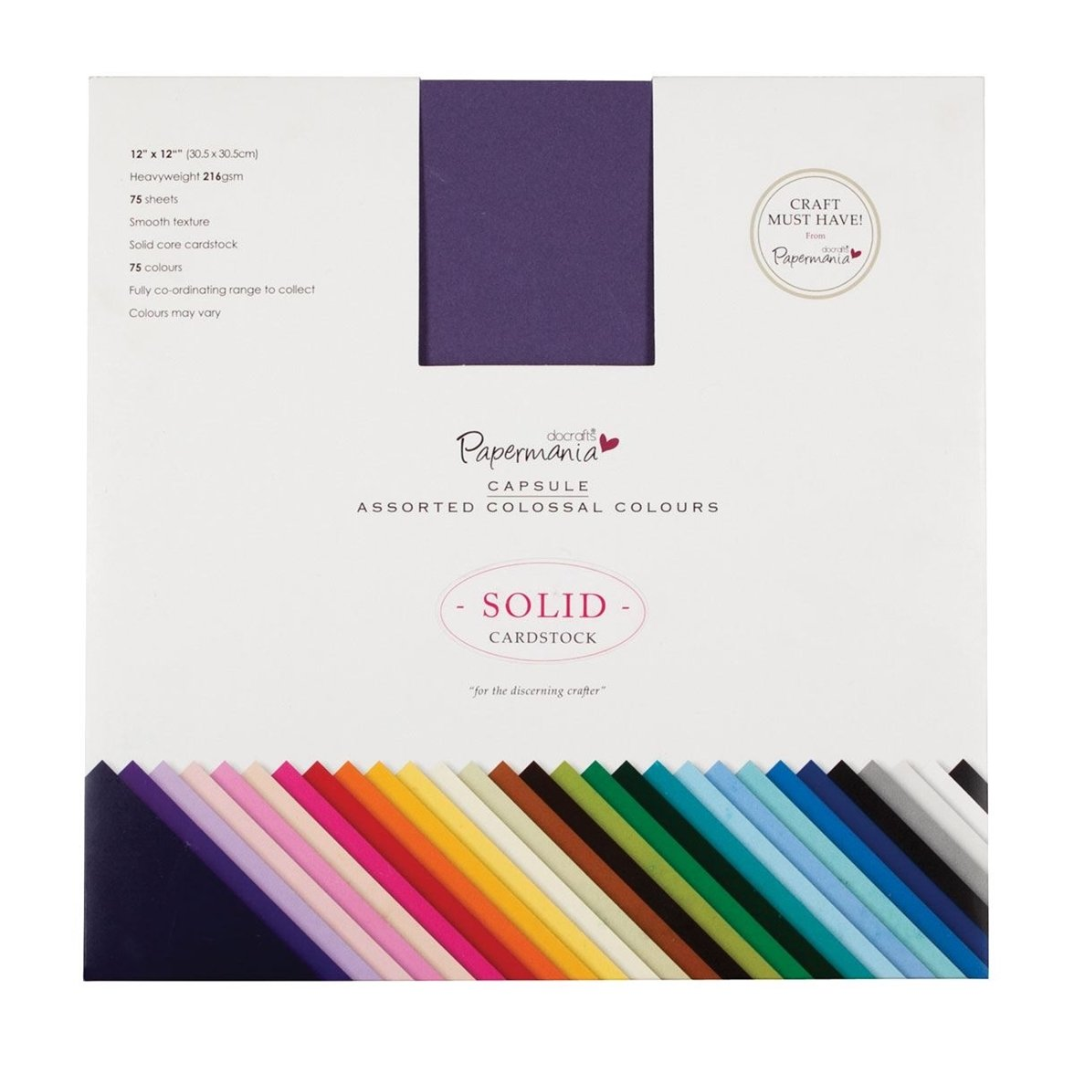 docrafts Papermania Premium Smooth Solid Cardstock, 12 by 12-Inch, Colossal by DOCrafts B009DEJ1NQ