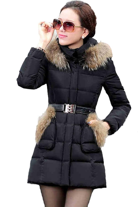 queenshiny Damen Lange Daunenjacke Mantel Jacke mit Waschbär Pelz Kragen mit Kapuze Winter